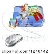 Clipart Of A 3d Computer Mouse Wired To A Travel Suitcase Royalty Free Vector Illustration by AtStockIllustration
