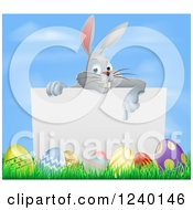 Gray Bunny Pointing Down To A Sign With Grass And Easter Eggs
