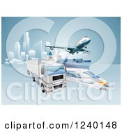 Clipart Of A 3d Big Rig Truck Cargo Ship Train And Airplane Leaving A City Royalty Free Vector Illustration