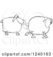 Clipart Of A Black And White Sheep Farting In Anothers Face Royalty Free Vector Illustration by djart