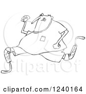 Clipart Of A Black And White Man Running With An Artificial Prosthetic Leg Royalty Free Vector Illustration