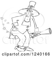 Clipart Of A Black And White Male Pilgrim Holding A Blunderbuss And Farting Royalty Free Vector Illustration by djart