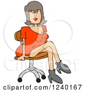 Clipart Of A Caucasian Woman Sitting In A Chair Royalty Free Vector Illustration