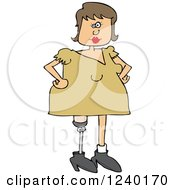 Caucasian Woman With An Artificial Prosthetic Leg