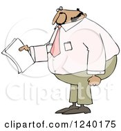 Clipart Of A Black Business Man Holding Papers And Wearing A Pink Shirt Royalty Free Vector Illustration