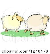 Clipart Of A Sheep Farting In Anothers Face Royalty Free Vector Illustration