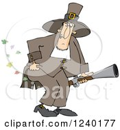 Clipart Of A Male Pilgrim Holding A Blunderbuss And Farting Royalty Free Vector Illustration
