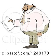 Clipart Of A Black Businessman Holding Papers And Wearing A Pink Shirt Royalty Free Illustration