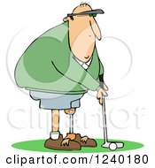 Golfing Caucasian Man With An Artificial Prosthetic Leg