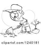 Clipart Of A Black And White Boy Digging A Hole To Plant A Tree On Arbor Day Royalty Free Vector Illustration