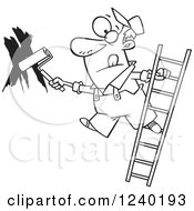 Clipart Of A Black And White Man Painting A Wall And Leaning Off Of A Ladder Royalty Free Vector Illustration by toonaday