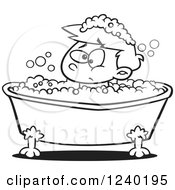 Clipart Of A Black And White Grumpy Boy In A Bubble Bath Royalty Free Vector Illustration by toonaday