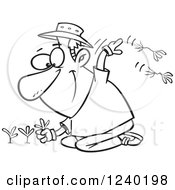 Clipart Of A Black And White Happy Man Pulling Weeds Royalty Free Vector Illustration