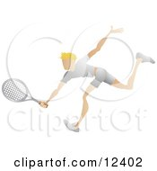 Blond Male Tennis Player Reaching His Racket Out To Hit A Ball