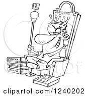 Clipart Of A Black And White Scrabble King Sitting On His Throne Royalty Free Vector Illustration by toonaday