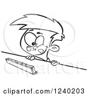 Clipart Of A Black And White Thinking Boy Playing A Game Of Scrabble Royalty Free Vector Illustration