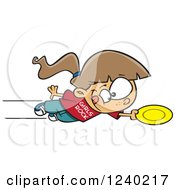 Clipart Of A Caucasian Girl Jumping And Catching A Frisbee Royalty Free Vector Illustration by toonaday