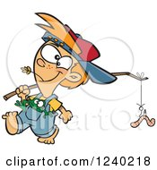Clipart Of A Caucasian Country Boy Carrying A Worm On A Stick And A Frog In His Pocket Royalty Free Vector Illustration by toonaday