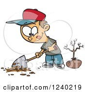 Clipart Of A Caucasian Boy Digging A Hole To Plant A Tree On Arbor Day Royalty Free Vector Illustration