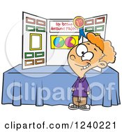 Clipart Of A Proud Caucasian Boy Winning First Place At A Science Fair Royalty Free Vector Illustration