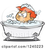 Grumpy Red Haired Boy In A Bubble Bath