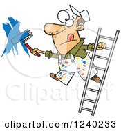 Caucasian Man Painting A Wall And Leaning Off Of A Ladder