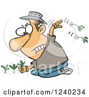 Clipart Of A Caucasian Mad Man Pulling Weeds Royalty Free Vector Illustration