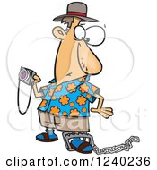 Clipart Of A Caucasian Man Holding A Camera And Caught In A Tourist Trap Royalty Free Vector Illustration