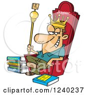 Clipart Of A Caucasian Scrabble King Sitting On His Throne Royalty Free Vector Illustration by toonaday