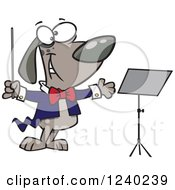 Clipart Of A Music Conductor Dog By A Stand Royalty Free Vector Illustration
