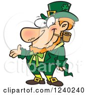 Clipart Of A St Patricks Day Leprechaun Presenting Royalty Free Vector Illustration by Ron Leishman