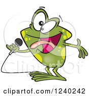 Clipart Of A Karaoke Frog Singing Royalty Free Vector Illustration