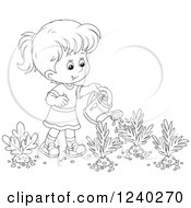 Clipart Of A Happy Black And White Girl Watering A Carrot Garden Royalty Free Vector Illustration