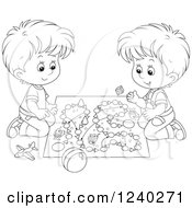 Clipart Of Black And White Boys Playing A Board Game Royalty Free Vector Illustration by Alex Bannykh