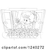 Clipart Of A Black And White Girl Watering A Window Planter Royalty Free Vector Illustration