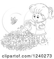 Clipart Of A Happy Black And White Girl Watering A Garden Royalty Free Vector Illustration