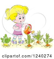 Happy Blond Girl Watering A Carrot Garden