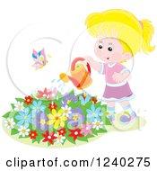 Happy Blond Caucasian Girl Watering A Garden