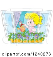 Clipart Of A Happy Blond Girl Watering A Window Planter Royalty Free Vector Illustration