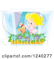 Clipart Of A Happy Blond Caucasian Girl Watering A Window Planter Royalty Free Vector Illustration