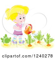 Happy Blond Caucasian Girl Watering A Carrot Garden