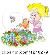 Clipart Of A Happy Blond Girl Watering A Garden Royalty Free Vector Illustration