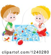 Clipart Of Caucasian Boys Playing A Board Game Royalty Free Vector Illustration by Alex Bannykh