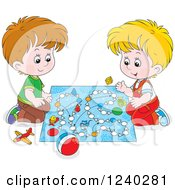 Clipart Of Happy Caucasian Boys Playing A Board Game Royalty Free Vector Illustration by Alex Bannykh