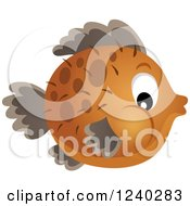 Clipart Of A Brown Blowfish Royalty Free Vector Illustration