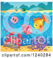Clipart Of Happy Sea Creatures Under The Surface Of Water Royalty Free Vector Illustration by visekart