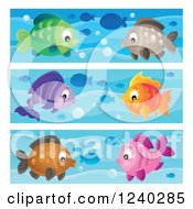 Clipart Of Borders Of Happy Fish Royalty Free Vector Illustration