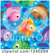 Clipart Of A Seamless Background Of Colorful Fish Over Blue Water Royalty Free Vector Illustration by visekart