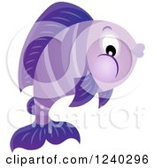 Clipart Of A Purple Fish Royalty Free Vector Illustration