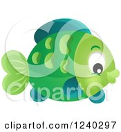 Clipart Of A Green Fish Royalty Free Vector Illustration by visekart